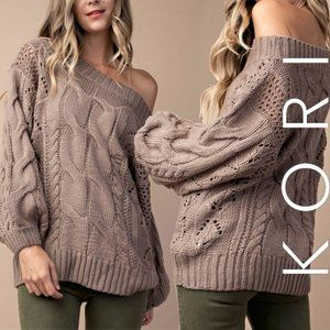 Kori Off The Shoulder Cable Knit Taupe Sweater